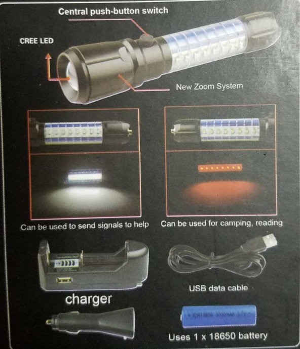 Gold Silver GS-9880 Zoomlu Şarjlı Işıldak El Feneri