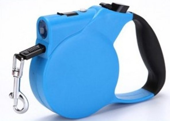 Işıklı Makaralı Otomatik Köpek Tasması 3 Metre Mavi
