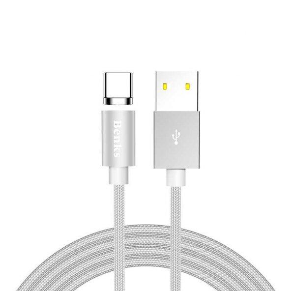 Benks D21 Magnetic Cable Type-C MANYETİK MIKNATISLI ŞARJ DATA KABLOSU SAMSUNG HUAWEİ XİAOMİ ŞARJ