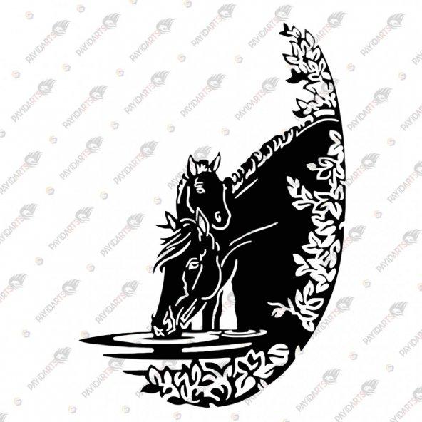 SU İÇEN ATLAR DEKORATİF LAZER KESİM METAL TABLO 61x90