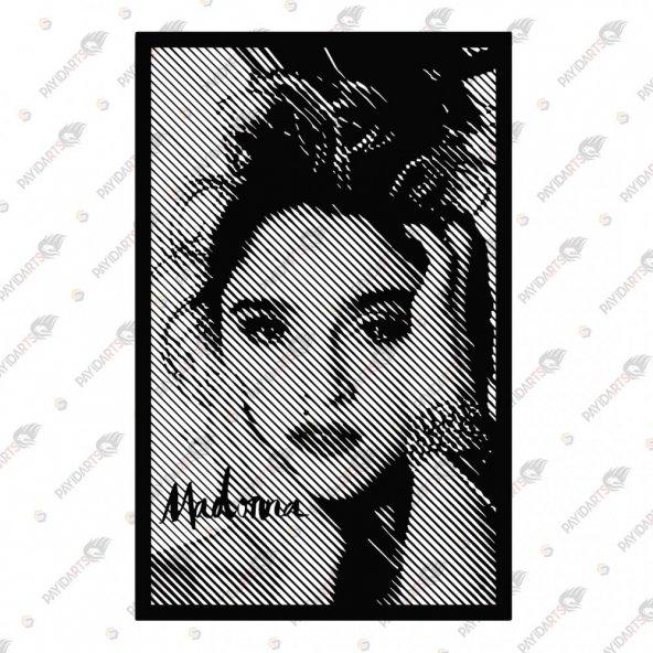 LINE ART MADONNA DEKORATİF LAZER KESİM METAL TABLO 59x92