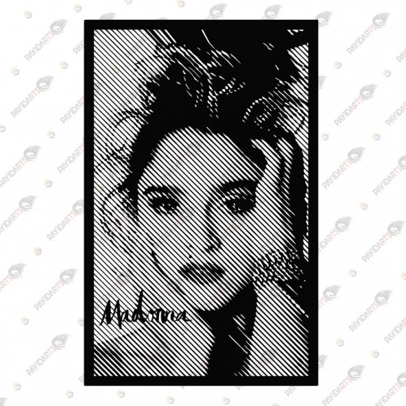 LINE ART MADONNA DEKORATİF LAZER KESİM METAL TABLO 46x72