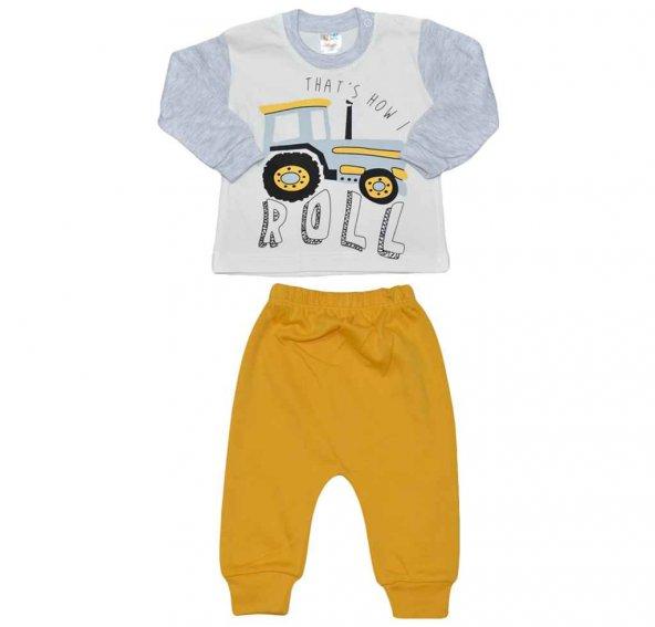 Meleka 1904 Erkek Bebek Takım Traktörlü Sarı