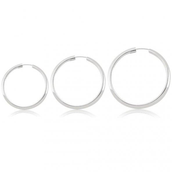 Gümüş Halka Küpe Üçlü Kombin 12 mm  + 14 mm + 16 mm wsk02
