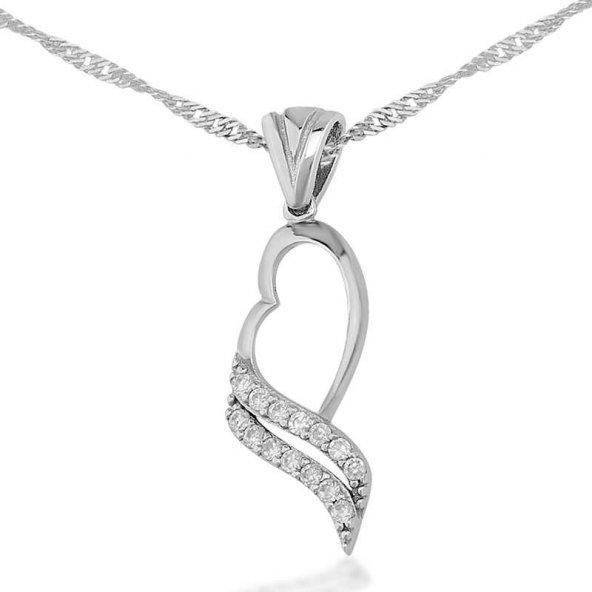 Gümüş Beyaz Taşlı Kalp Bayan Kolye