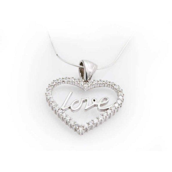Gümüş Taşlı Love Bayan Kolye