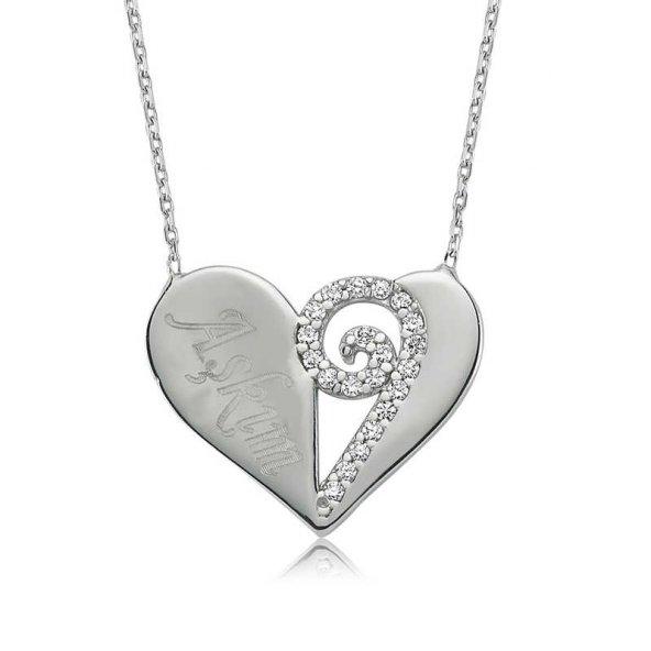 Gümüş Kalpli Aşkım Bayan Kolye
