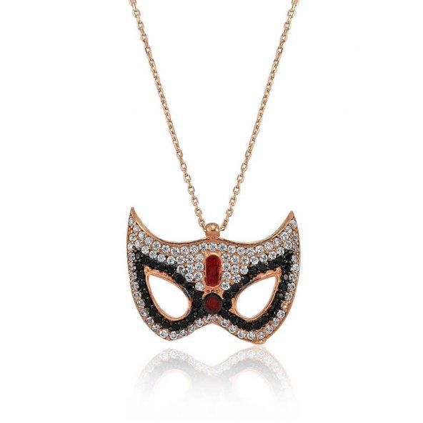 Gümüş Maske Bayan Kolye