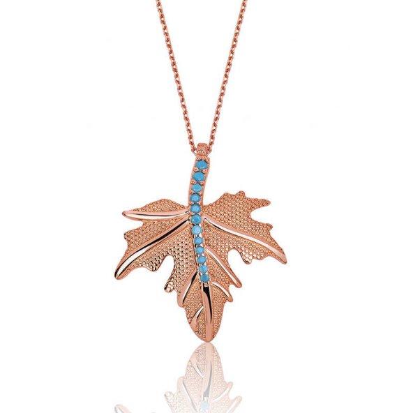 Gümüş Çınar Yaprağı Bayan Kolye