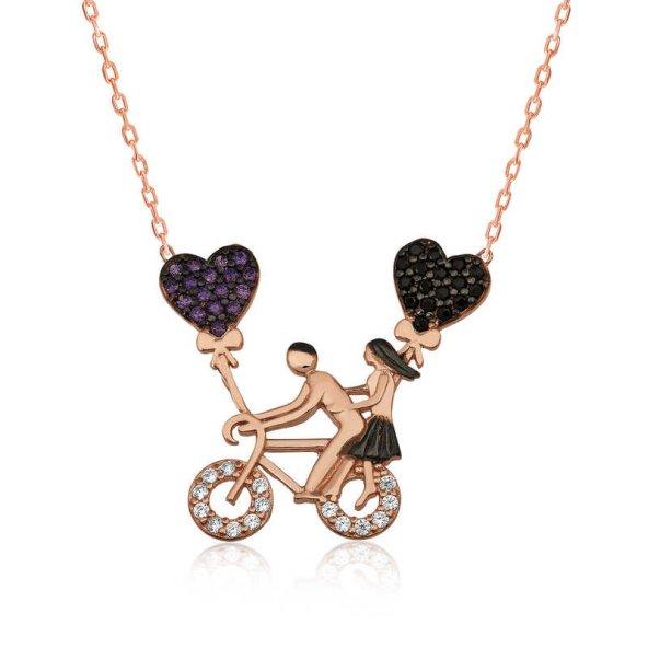 Gümüş Bisikletli Aşıklar Bayan Kolye