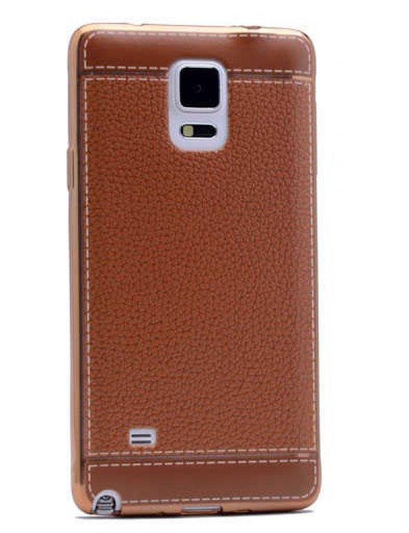 Galaxy Note 4 Kılıf Zore Deri Lazer Kaplama Silikon