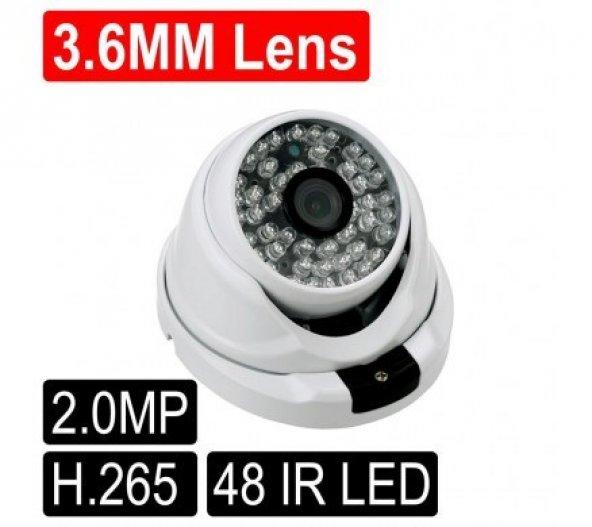 Opax-2132 2 mp 1080P H.265 3.6mm Lens 48 IR Led IP Dome Kamera