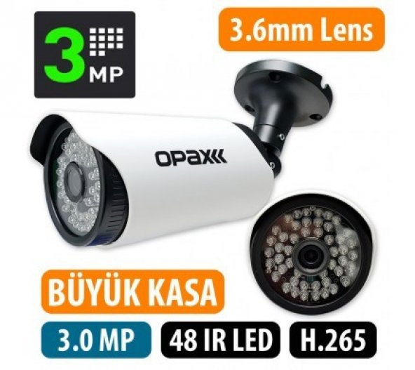 OPAX-5649 3 mp 3.6mm Lens H.265 Büyük Kasa 48 IR Bullet IP Kamera