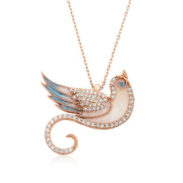 Gümüş Zümrüdü Anka Kuşu Bayan Kolye