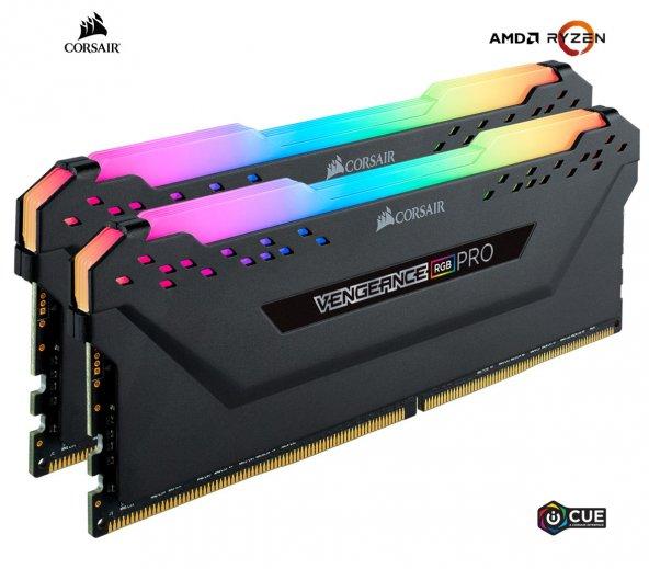 Corsair Vengeance RGB PRO AMD Ryzen 16GB (2x8) 3600MHz DDR4 CMW16GX4M2Z3600C18 Bellek 1,35V