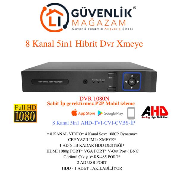DVR 08 XMEYE- 8 KANAL 2MP 1080N AHD TVI CVI IP ANALOG (HIBRIT) KAYIT CİHAZI