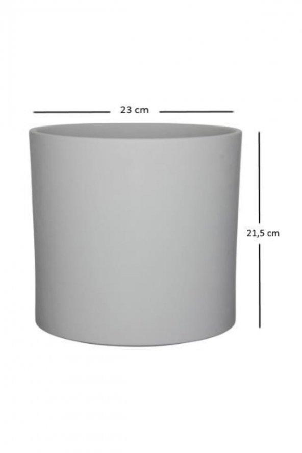Gri Seramik Saksı Mica 23*21,5 cm.