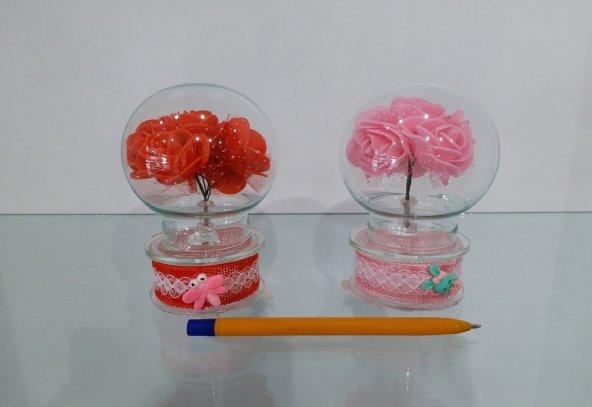 CAM Küre Çiçekli Işıklı Masa Üstü Model