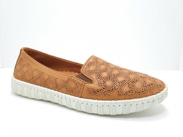 Özgül Ortopedik Hakiki Deri Kauçuk Tabanlı Ayakkabı TABA