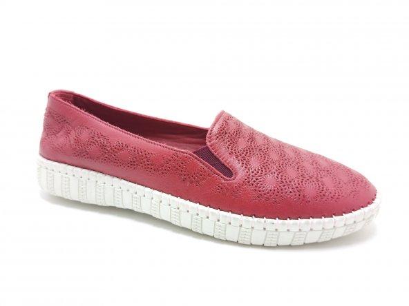Özgül Ortopedik Hakiki Deri Kauçuk Tabanlı Ayakkabı Kırmızı