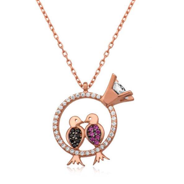 Gümüş Aşk Kuşları Kolye