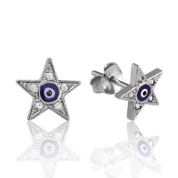 Gümüş Nazarlı Yıldız Çivili Küpe