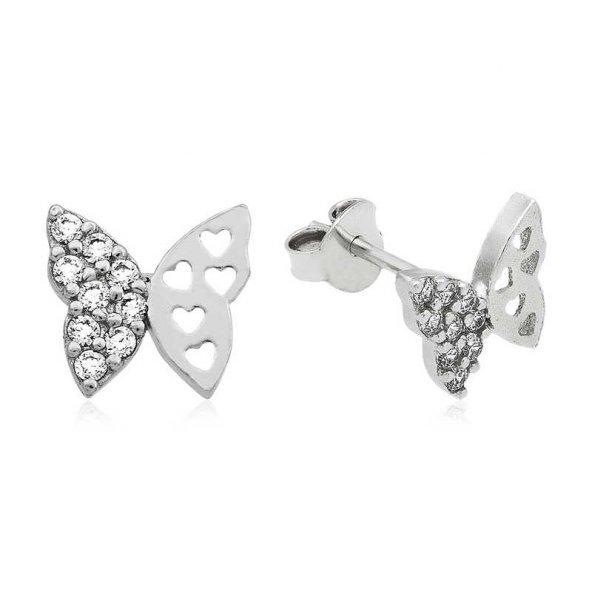 Gümüş Çivili Kelebek Küpe