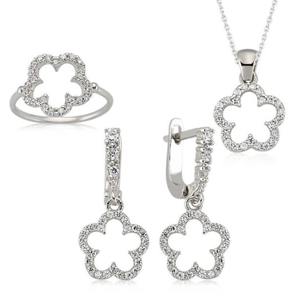 Gümüş Çiçek Bayan Set