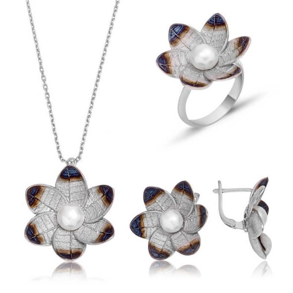 Gümüş Nergis Çiçeği Bayan Set