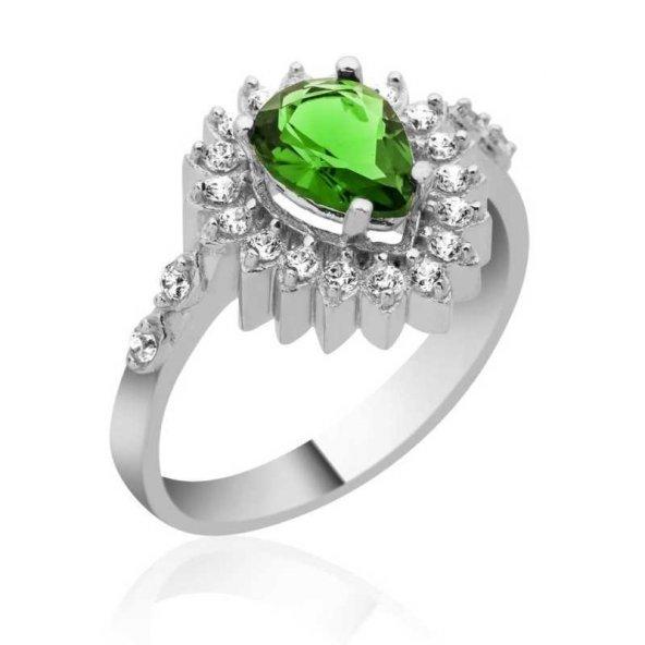 Gümüş Yeşil Taşlı Damla Bayan Yüzük