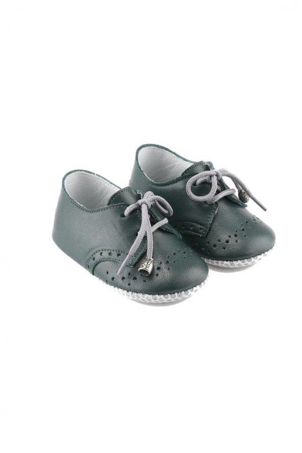 Bağcıklı Deri Bebek Ayakkabısı Haki