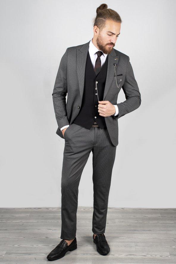 DeepSEA Antracite Yelek Zincir Aksesuarlı Takım Elbise 2001120