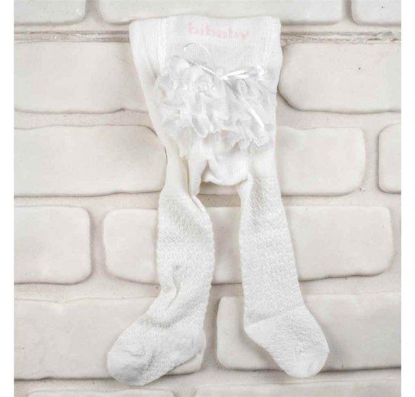 BiBaby 68154  Kız Bebek Jakarlı Dantelli Külotlu Çorap