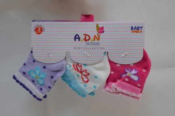 3lü Renkli Desenli Kız Çocuk Soket Çorap