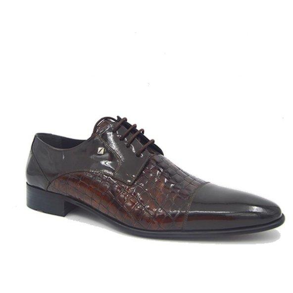 Fosco 4138 Deri Klasik Erkek Ayakkabı Kahve Rugan