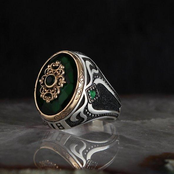 Yeşil Zirkon Taşlı 925 Ayar Erkek Gümüş Yüzük