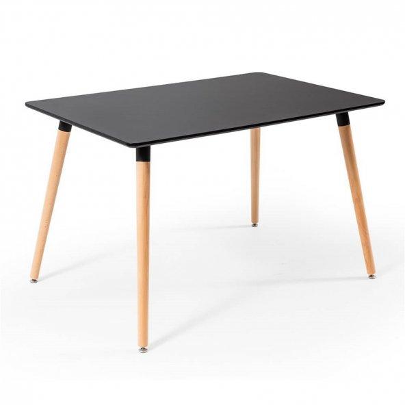 Eames Dikdörtgen Mutfak Masası Siyah 80x120 cm