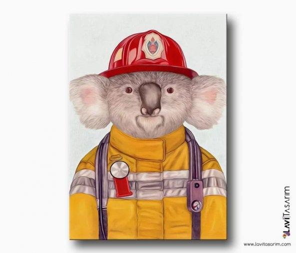 Sarı İtfaiyeci Koala Kanvas Tablo