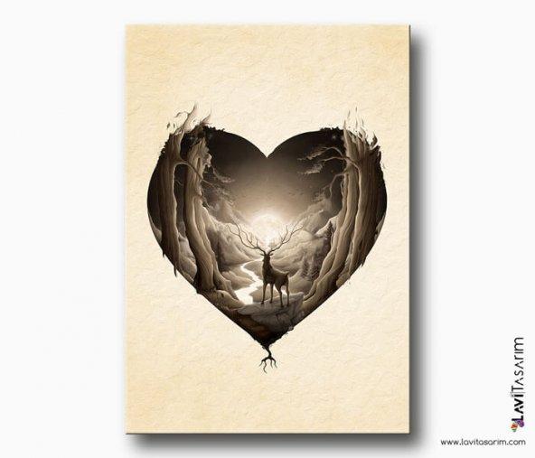 Geyik Sevgisi Kanvas Tablo