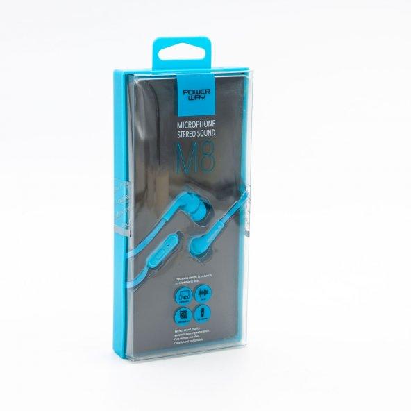 M8 Mikrofonlu Kulaklık (Mavi) PowerWay