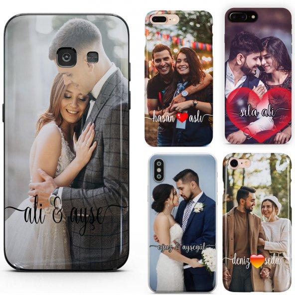 Huawei P9 Lite 2017 Çiftlere Tasarımlı İsimli Fotoğraflı Kılıf