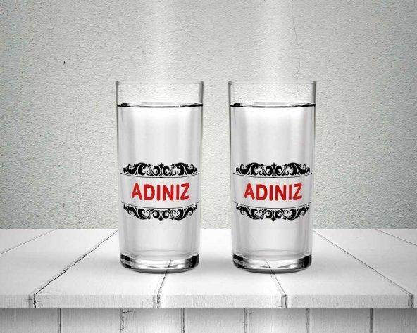Baskılı çift İsimli Kişiye Özel Baskılı Rakı Bardağı