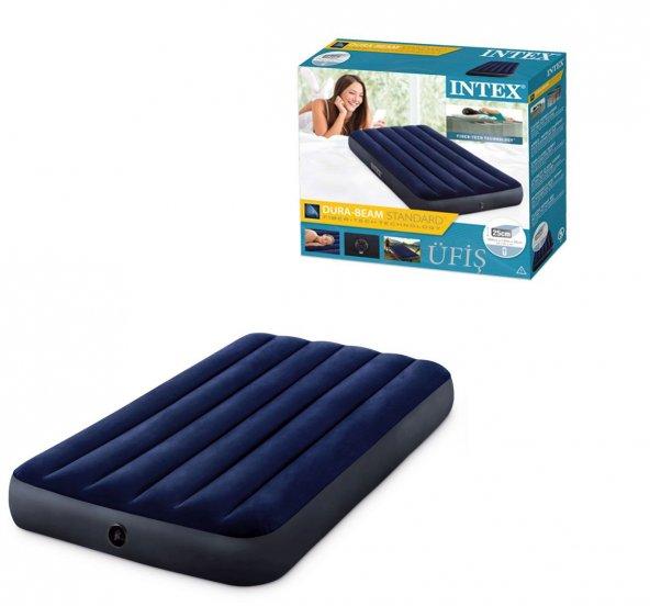 KIŞ KAMPANYASI! İntex 64757 Lacivert Tek Kişilik Şişme Yatak/Kamp Yatağı Şok Fiyat Kargo Ücretsiz