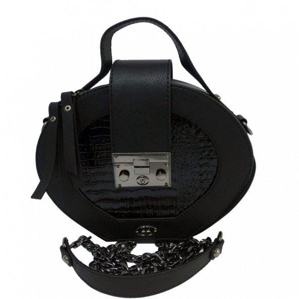 Siyah Oval Kilitli Çapraz Zincirli Kadın Çanta