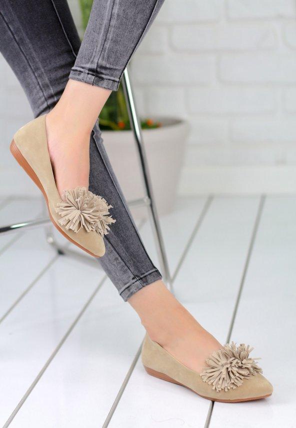 Silvano Vizon Süet Bayan Babet Ayakkabı