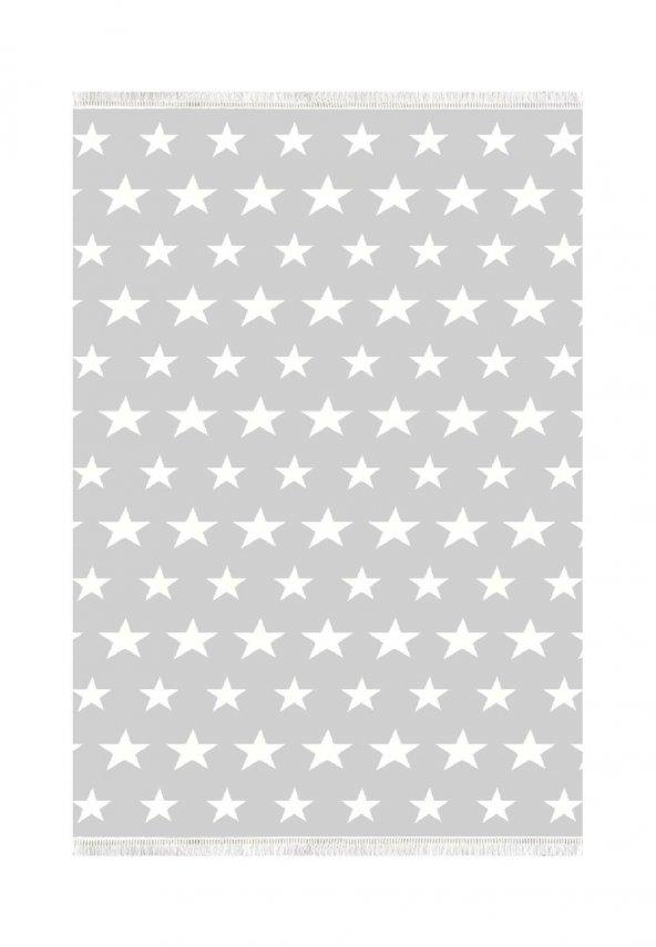 Belemir K324 Yıldız Dolu Açık Gri Dekoratif Halı