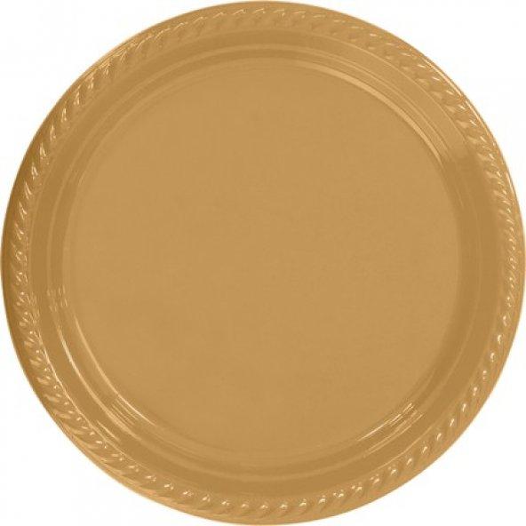 Gold Plastik Tabak 22 cm 25li