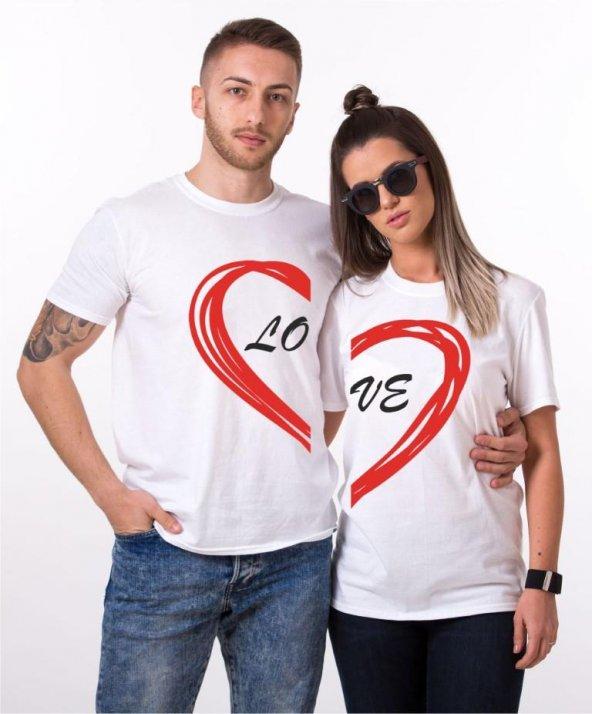 Tshirthane Lo Ve Yarım Kalp Sevgili Kombinleri tshirt kombini Sevgili Çift tshirt