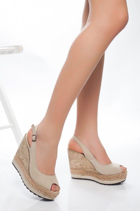 Fran Vizon Keten Dolgu Topuk Sandalet