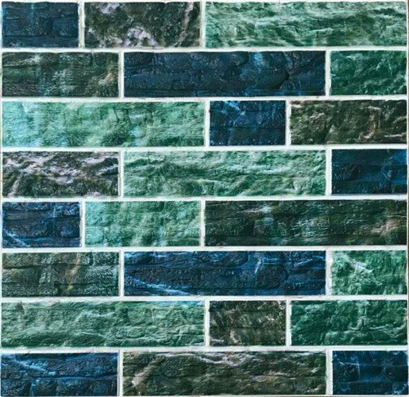 NW22 Yeşil Düz Kesim Taş Desen Kendinden Yapışkanlı Tuğla Esnek Duvar Paneli